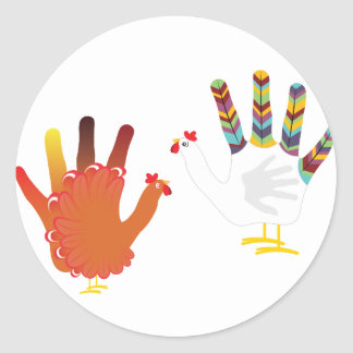 Grunge Hand Chicken3 Round Sticker
