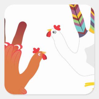 Grunge Hand Chicken3 Square Sticker