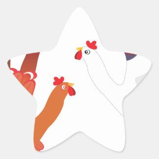 Grunge Hand Chicken3 Star Sticker
