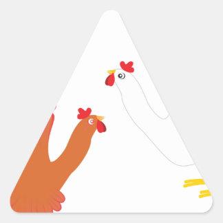 Grunge Hand Chicken3 Triangle Sticker