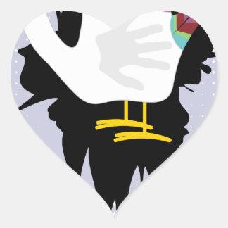 Grunge Hand Chicken4 Heart Sticker