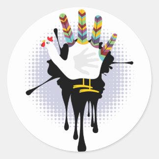 Grunge Hand Chicken4 Round Sticker