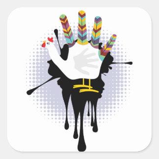 Grunge Hand Chicken4 Square Sticker