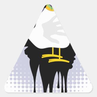 Grunge Hand Chicken4 Triangle Sticker