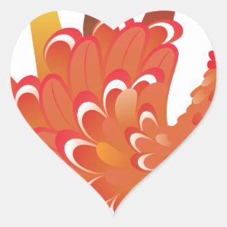 Grunge Hand Chicken 2 Heart Sticker