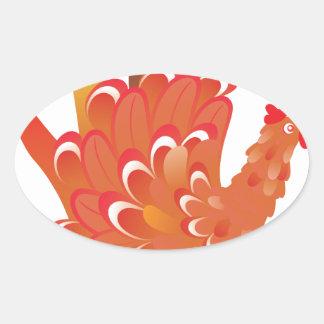 Grunge Hand Chicken 2 Oval Sticker