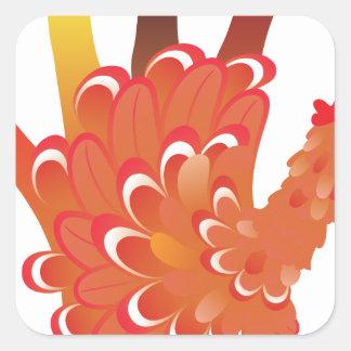 Grunge Hand Chicken 2 Square Sticker