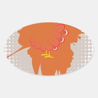 Grunge Hand Chicken Oval Sticker
