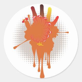 Grunge Hand Chicken Round Sticker