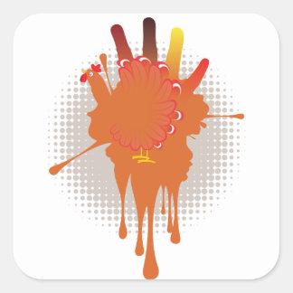 Grunge Hand Chicken Square Sticker