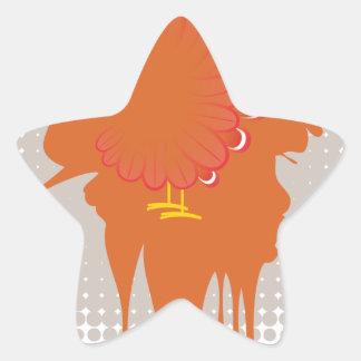 Grunge Hand Chicken Star Sticker
