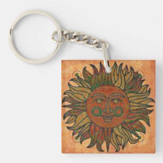 Grunge Harvest New Age Sun Keychain