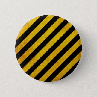 Grunge hazard stripe 2 inch round button
