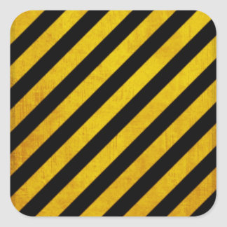 Grunge hazard stripe square sticker
