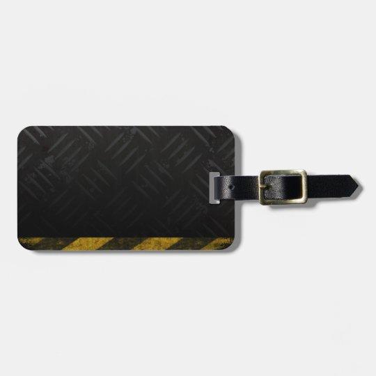Grunge Hazard Stripes Diamond Plate Luggage Tag