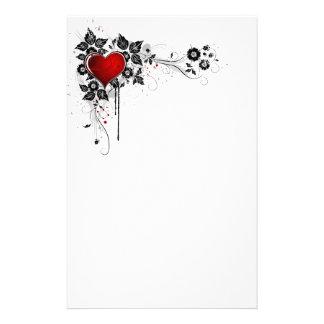 Grunge Heart and Flowers Custom Stationery