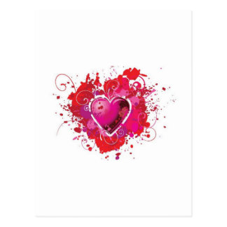 Grunge heart splashes postcard