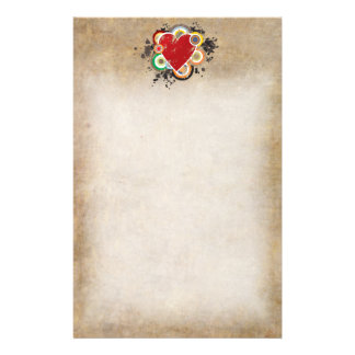 Grunge Heart with Rings Stationery Paper