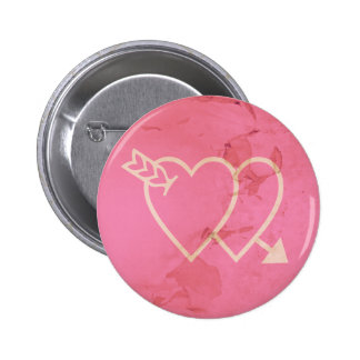 Grunge Hearts and Arrow Green - Pink 2 Inch Round Button