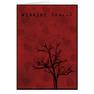 Grunge Hearts Missing You Card