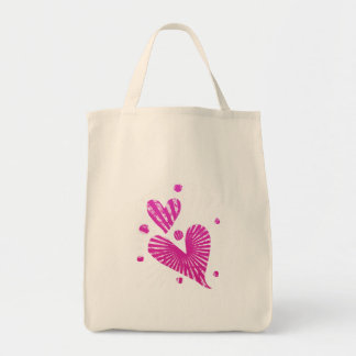 Grunge Hearts Valentine's Day Tote Grocery Tote Bag