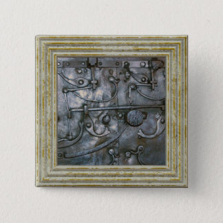 Grunge Iron Heavy Metal 2 Inch Square Button