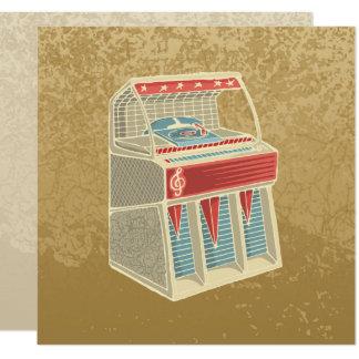 "Grunge Jukebox 5.25"" Square Invitation Card"
