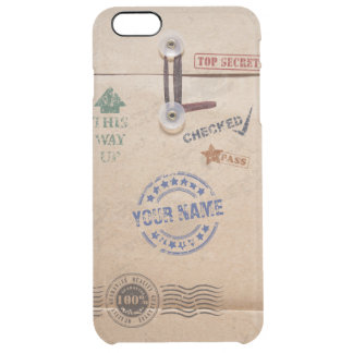 Grunge Kraft Envelope with Stamps Custom Monogram Clear iPhone 6 Plus Case