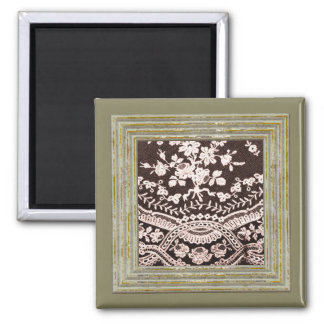 Grunge Lace Fabric Square Magnet