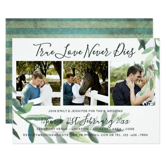 Grunge Leaves | PHOTO Collage Wedding INVITATION