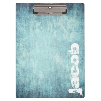 grunge light blue texture personalized by name clipboard