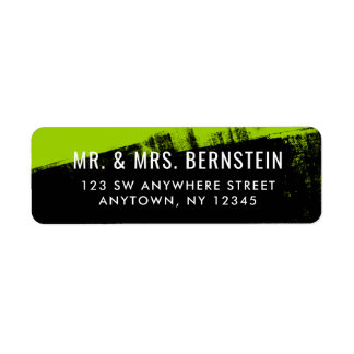 Grunge Lime Green Black Return Address