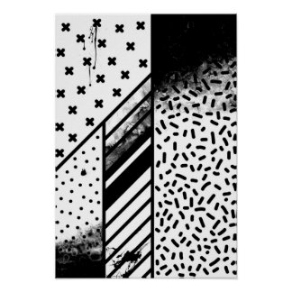 Grunge lines - black and white poster