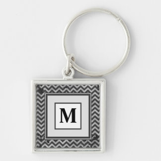 Grunge Look Distressed Chevron Pattern in Greys Keychain