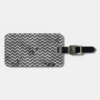 Grunge Look Distressed Chevron Pattern in Greys Luggage Tag