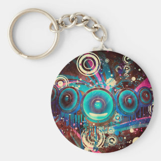 Grunge Loud Speakers 2 Basic Round Button Keychain