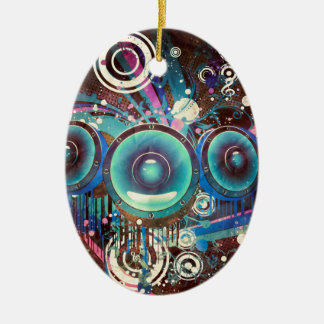 Grunge Loud Speakers 2 Ceramic Oval Ornament