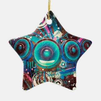 Grunge Loud Speakers 2 Ceramic Star Ornament
