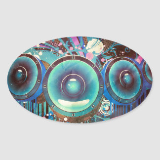 Grunge Loud Speakers 2 Oval Sticker