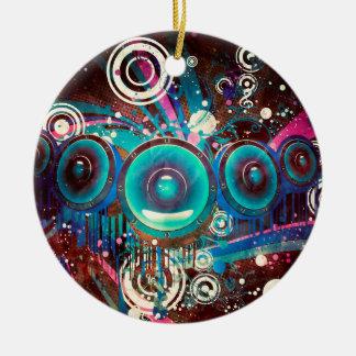 Grunge Loud Speakers 2 Round Ceramic Ornament