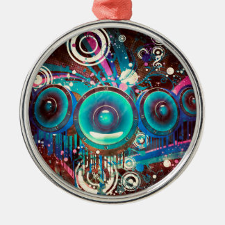 Grunge Loud Speakers 2 Silver-Colored Round Ornament