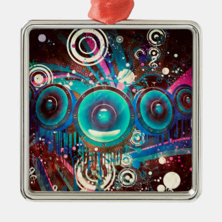 Grunge Loud Speakers 2 Silver-Colored Square Ornament