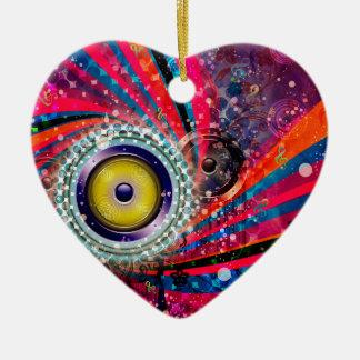 Grunge Loud Speakers Ceramic Heart Ornament
