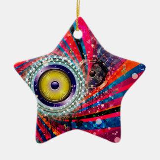 Grunge Loud Speakers Ceramic Ornament
