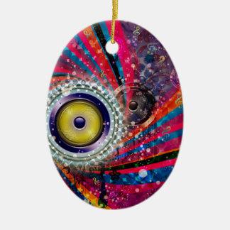 Grunge Loud Speakers Ceramic Oval Ornament