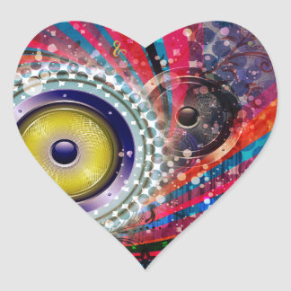Grunge Loud Speakers Heart Sticker