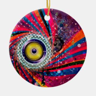 Grunge Loud Speakers Round Ceramic Ornament