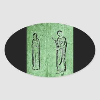 Grunge Medieval Statues Oval Sticker
