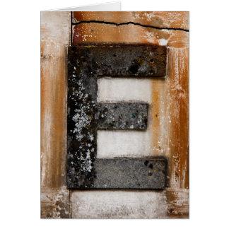 Grunge monogram E Card