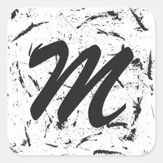 Grunge Monogram Rounde Sticker